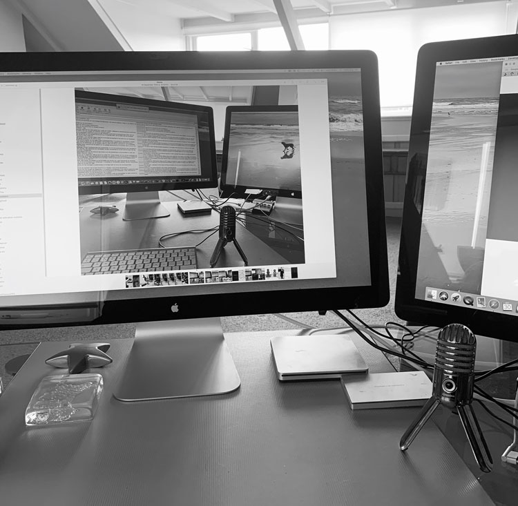 Christina Guy working environment, desk with two monitors